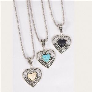 Silver Heart Necklace With Centered Heart Stone